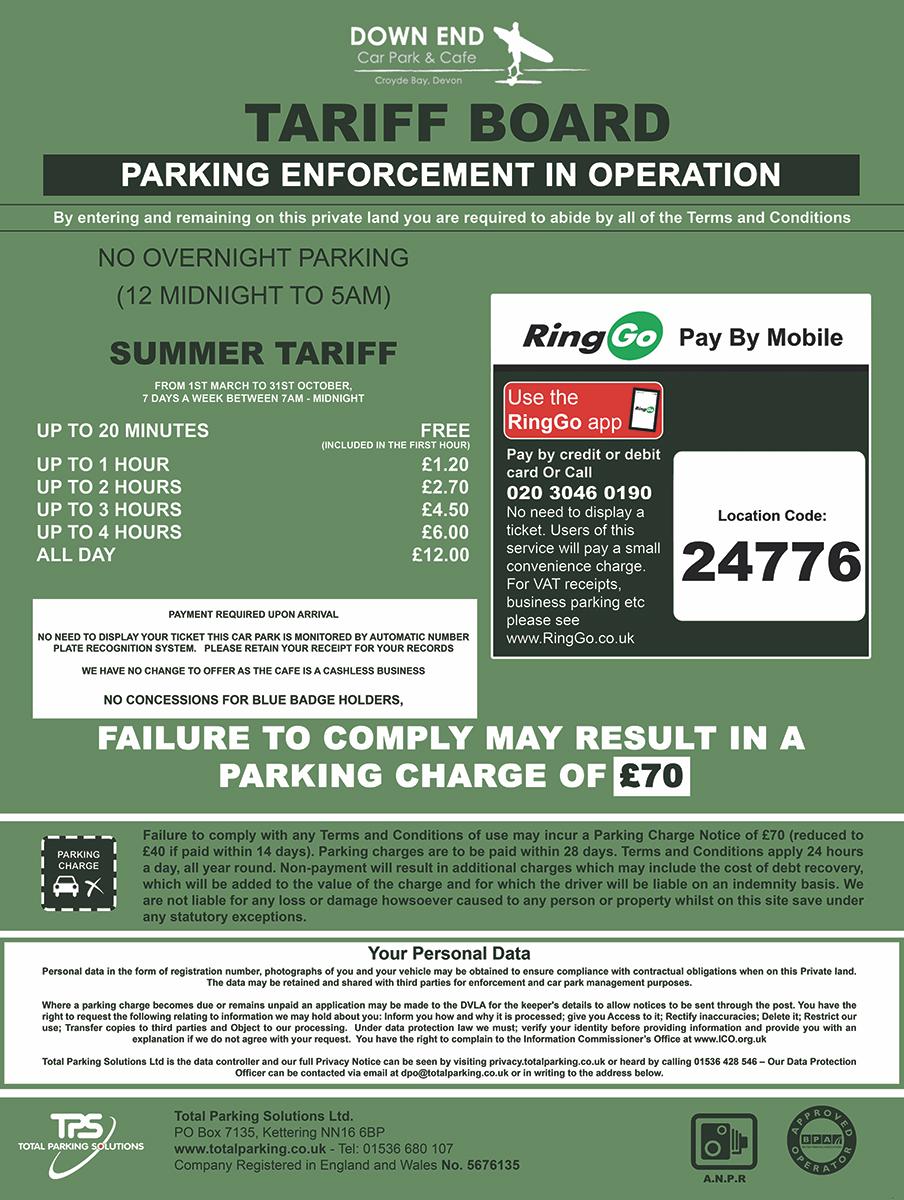 DownEnd Croyde Parking Tariff